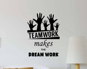 Teamwork Quote Etsy - Custom vinyl decals quotes   beginning business