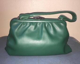 Green Handbag with matching gloves