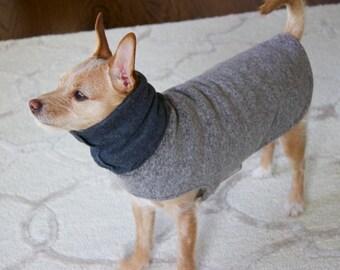 Custom Dog Fleece Coat- Gray Dog Hoodie/Scarf - Dog Jacket -Dog Clothes