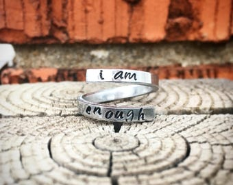 Personalized Wrap Rings Hand Stamped in Copper or Aluminum Adjustable - I am Enough