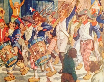 Vintage - School poster French front and back of the 1970s - French Revolution