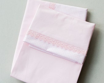 baby bedding with laces/kids bedding/Bedding Crib Set, Crib Bedding, New Baby Crib Set, Baby Gift/PINK/PR-45