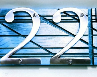 Modern Address Number Sign, Blue, Green, Grey. Address plaque. Custom wooden address plaque. Rustic House numbers sign. Personalized gift.