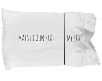 Maine Coon Pillowcase - Funny Maine Coon Pillow Case - Maine Coon Gifts - Maine Coon Cat Side My Side