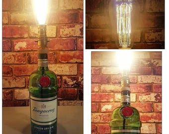 Upcycled 1 litre bottle of Tanqueray Gin with Squirrel cage vintage bulb.