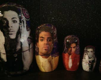 Prince - A Paisley Parade - Decoupage 5 piece Nesting Dolls Matryoshka Set