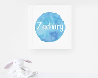 Personalised Nursery Print - Watercolour Name Print - Personalised Nursery Art - Name Print - Nursery Decor - New Baby Gift - 9 Colours
