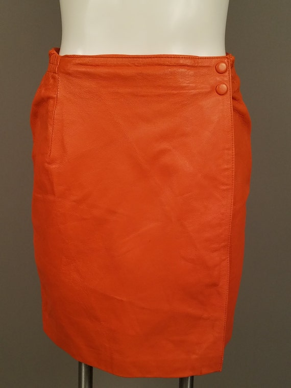 Vintage Orange Leather Mini Skirt Leather Wrap a round Short
