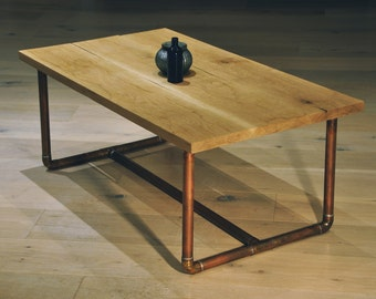 Reclaimed Oak and Copper Pipe Coffee Table
