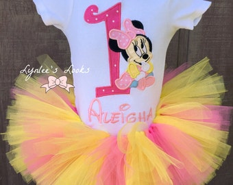 Baby Minnie mouse tutu birthday outfit