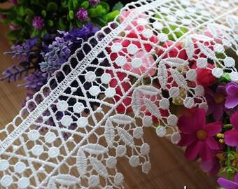 Off-White Venise lace trim/Guipure Lace/Wide Lace Trim/Lace Crown DIY/Lace Curtain Trim/Couture Trim/Vintage Lace/Lace by the yard, VL-19-WH