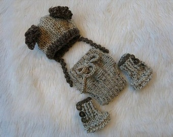 Baby Bear Hat, Bear Ears Baby Hat, Bear Diaper Cover, Baby Bear Booties, Hand Knit Baby Bear Outfit, Photo prop
