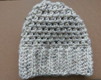 "The ""Claire"" Moss Stitch Wool Blend Crochet Hat in Cream"