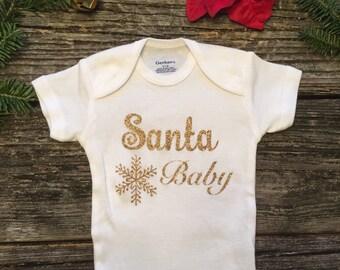 Santa Baby - Christmas Onesie- My First Christmas - Christmas Outfit - Holiday Outfit - Babysfirst Christmas