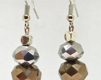 metallic stacked faceted earrings, tiered earrings, bronze and silver earrings, modern earrings, gift earrings
