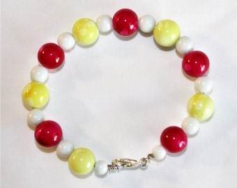 Bright red, lemon yellow, and white glass bead & wire bracelet B109