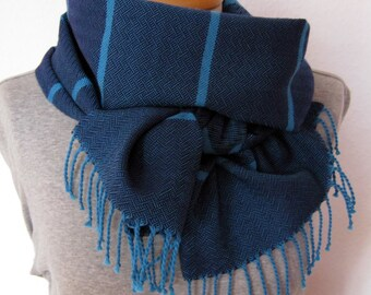 Scarf dark blue with narrow strips - handwoven unique