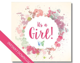 Its a girl card, Baby shower card, printable card, pdf and jpg instant download, Printable baby shower card, Digital card for baby girl