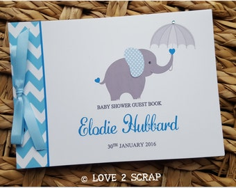 "A5 Personalised ""Elephant"" Baby Shower Guest Book - Christening - Birthday - Pink - Blue- Yellow  Chevron - FREE POSTING to UK"