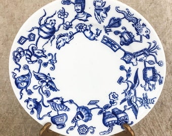 Vintage Blue and White Plate Bugs Animals History