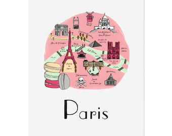 Paris Map / Illustrated Map / Paris Art Print