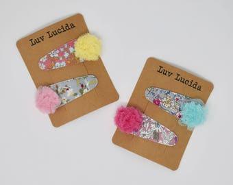 Flower Pattern Hair Clip with Lace Pompom(2pcs set)