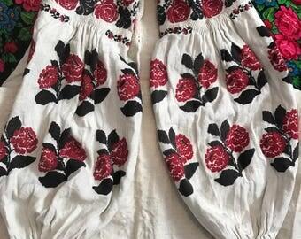 Ukrainian vintage dress sorochka vyshyvanka etno Poltava region hand embroidered hemp cross stitch