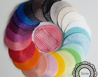 Round Poly Straw Fascinator Cocktail Hat Base   AD01BP