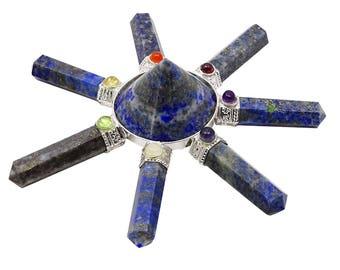 Lapis Lazuli Stone Pyramid, Spiritual 7 Pencil Points Energy Generator, Reiki Healing Crystal With Gift Pouch HCDR459C