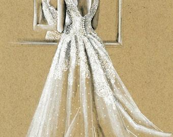 Custom Fashion Illustration Bridal Sketch Wedding Gift Drawing Bride