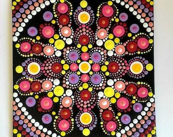 Mandala Painting on Canvas Board 15 x 15 cm-Dot Art-Puntillism-Multicolor-Acrylic Paint-Home Decor