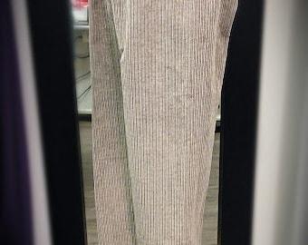 Classic vertical beige corduroy long  straight pant
