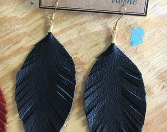 Leather Feather Earrings - Large