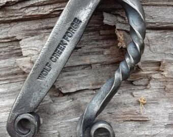 Blacksmith forged Striker Flint Steel twisted Colonial Bushcraft firemaking