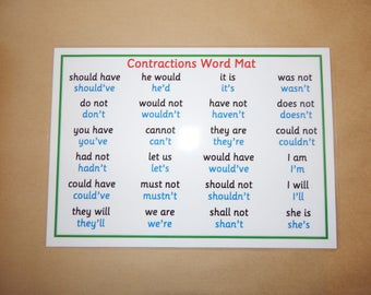 Contractions Literacy Poster - A4 Laminated poster - Literacy, English, teaching resource, learning resource, Educational, KS1, KS2