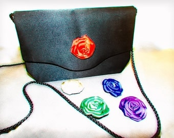 Evening pouch strip-black satin cord - five flower buttons/bag strap-cord black satin, five buttons in the form of interchangeable flowers.