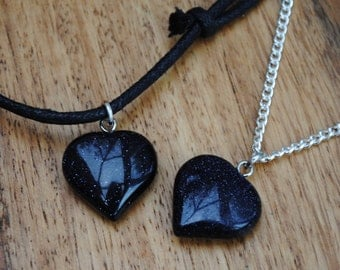 Blue Goldstone Heart Charm Necklaces