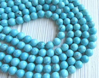 Turquoise Magnesite, 8mm beads, full strand, blue turquoise beads, magnesite beads, blue magnesite, blue beads, 8mm blue beads, US seller