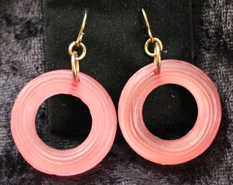PE # 103 Vintage Gold Tone Dangle Earrings with Texture Pink Circles