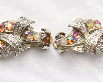 Vintage Gold Tone Clip On Earrings with Pink Aurora Borealis Crystal Rhinestones with Mod Look