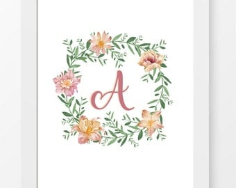 Bespoke Personalised Initial Floral Print - A5/A4