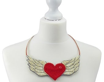 Winged heart necklace, embroidered winged heart necklace, statement winged heart necklace, hand stitched necklace, hand embroidered,