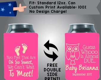 Two Feet That Are Oh So Sweet We Can't Wait To Meet! Guess Whooo Collapsible Fabric Baby Shower Can Cooler Double Side Print (BS6)