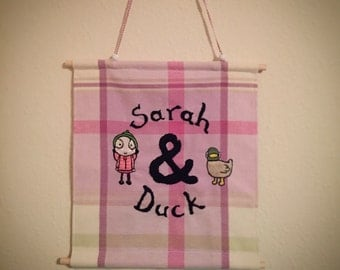 Sarah & Duck embroidery wall hanging