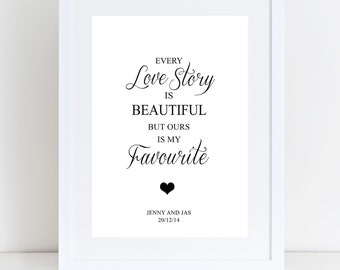 Personalised 'Every Love Story' Print, Valentines/Engagement/Wedding/Anniversary Gift