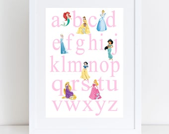Princess ABC print- nursery print, playroom print, bedroom print