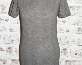 Size 12 14 vintage 70s short sleeve skinny fit crew neck t shirt darkgrey (GT80)