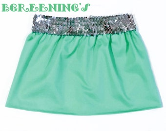 Mint Green, Sequins Skirt, Sizes Newborn to Girls, Baby Skirt, Toddler Skirt, Girls Skirt, Children's Clothing, Multi-Colored, Solid
