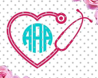 Nurse heart svg, stethoscope svg,