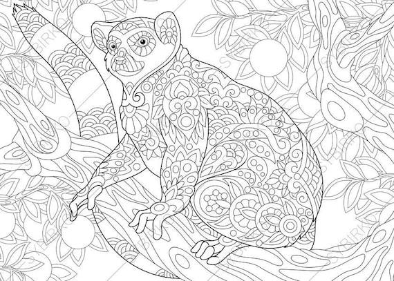 Adult coloring pages lemur zentangle doodle coloring book - Mandala dinosaure ...